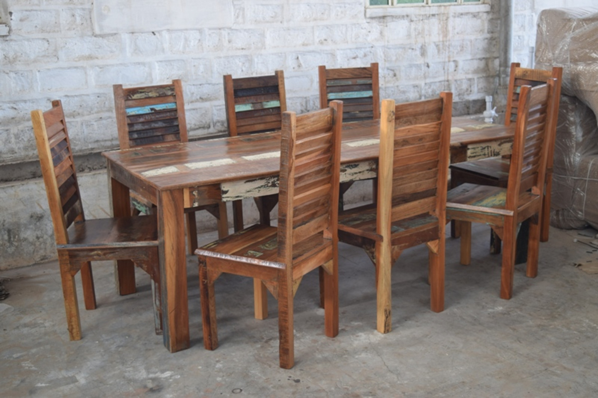 Recycled Wood Dining Table With 8 Chairs Cargo West