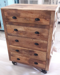 Five drawer chest on castors constructed from mango wood