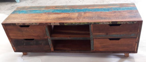 TV stand with four drawers constructed from reclaimed wood