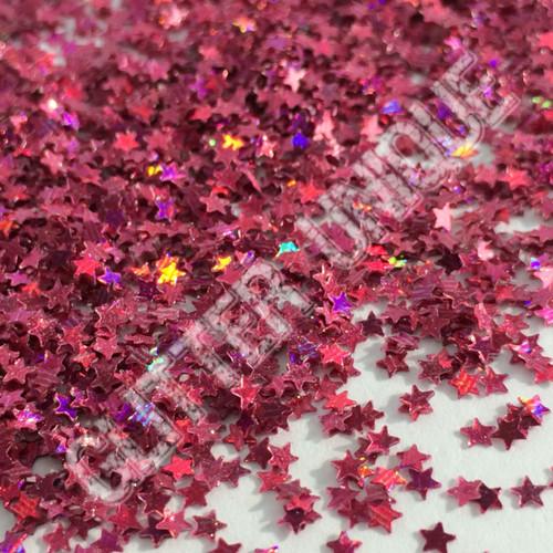 Bright Pink Holo Stars - MINI