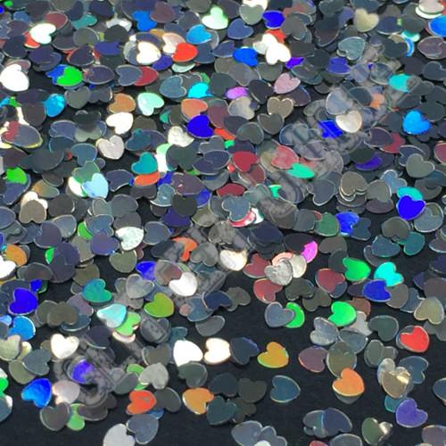 Silver Holo Hearts - MINI