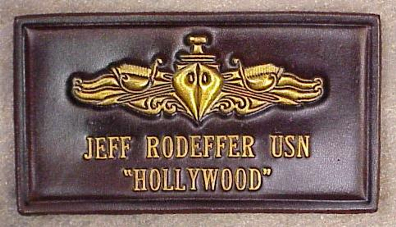 U.S. NAVY SWO NAME  TAG , 2 Lines of Text CLASSIC EMBOSSED