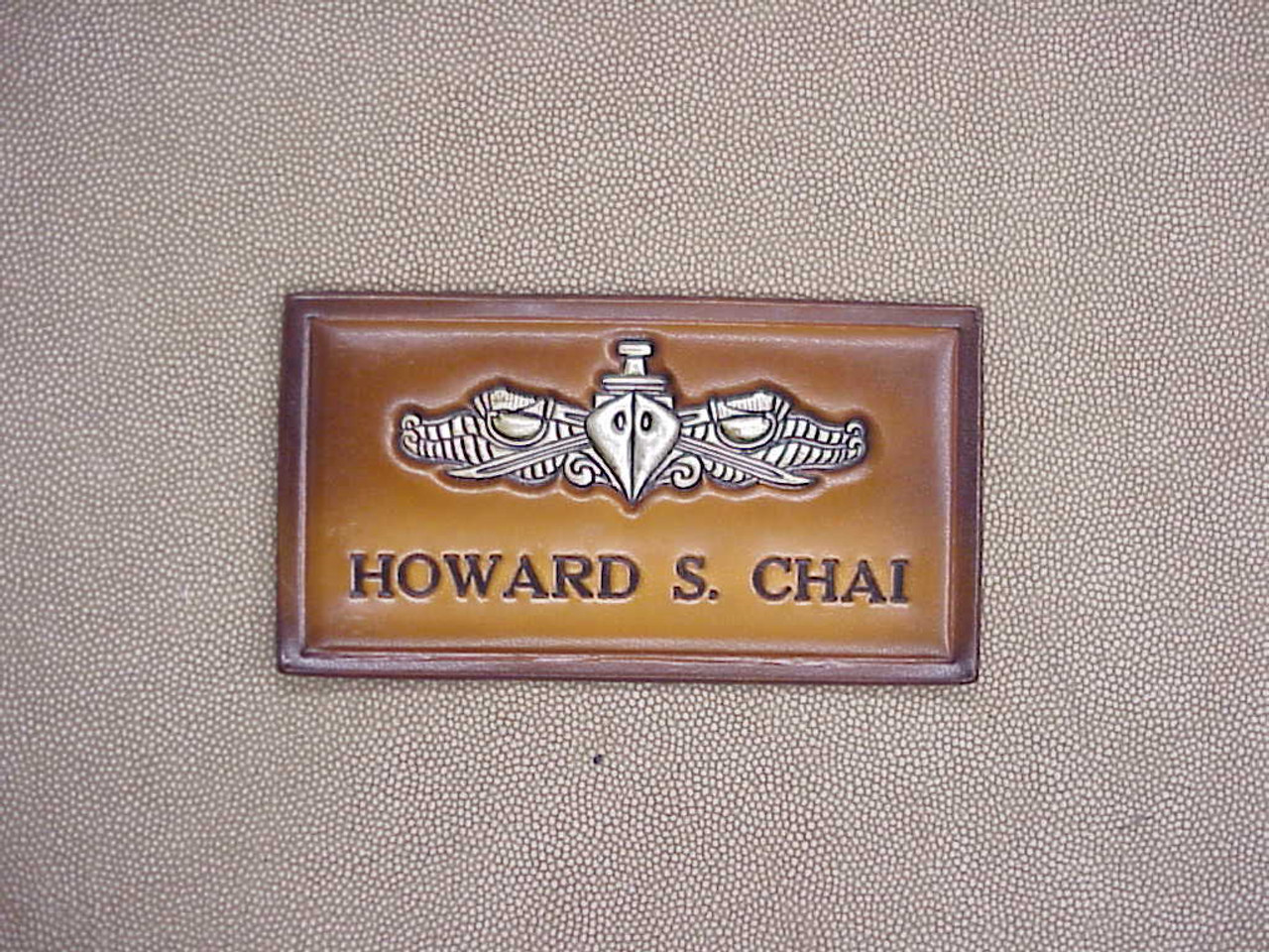 U.S. NAVY ESWS NAME  TAG , 1 Line of Text CLASSIC EMBOSSED