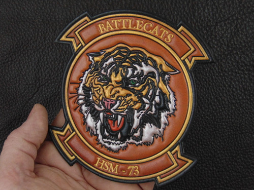 HSM-73 BATTLECATS   Classic Embossed Leather Hand Colored