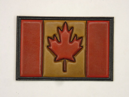 CANADA  FLAG In Embossed Leather - Hand Colored