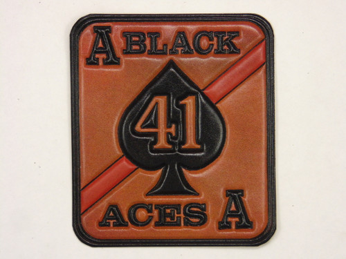 VFA-41 BLACK ACES  Vintage color Embossed Leather
