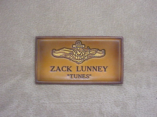 U.S. NAVY IDWO  NAME  TAG , 1 Line of Text CLASSIC EMBOSSED