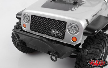 RC4WD Logo BLACK Billet Grill for Axial SCX10 Jeep Wrangler inc Fixings Z-S1506