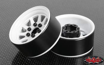 """OEM Stamped Steel 1.9"""" Beadlock Wheels WHITE 12mm Hex 10 spoke RC4WD Z-W0208"""