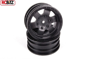 "1.9"" Rock CRC Wheels BLACK 2 inc Hubs 12mm Hex mount Glue on Axial AX31094"