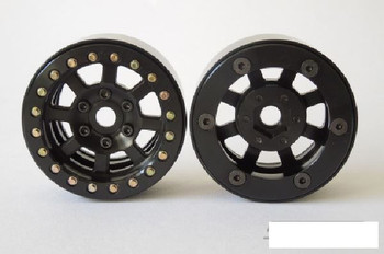 "1.9"" Assassin Ally Beadlock Wheels BLACK SSD00038 Vanquish SLW Hubs 12mm Hex"