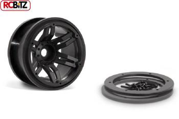 "2.2"" Rockster Beadlocks Scaler crawler Wheels 12mm Hex BLACK Wraith AX8091"