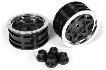 Axial 1.9 Walker Evans Wheels Chrome Black 2 AX08140 GLUE ON Plastic SCX10