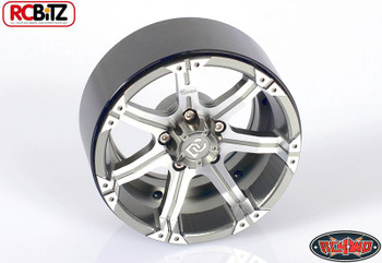 "Dick Cepek Gun Metal 7 2.2"" Internal Beadlock Wheels Scale Hubs Hex R4WD Z-W0170"