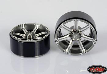 "Dick Cepek Gun Metal 7 2.2"" Internal Beadlock Wheels Scale Hubs Hex R4WD Z-W0170"