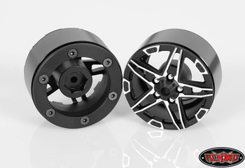 "RC4WD 1.9"" Bombshell Alloy Beadlock Wheel BLACK Hex Mounting SCX10 G2 Z-W0171"