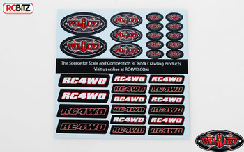 RC4WD Logo Small Decal Sticker Sheet set emblem Z-S1270 Red oval 3 sizes RC Bits