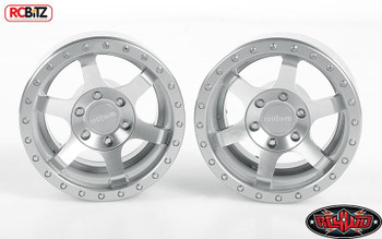 "RC4WD Rotiform Six-OR 2.2"" Scaler Beadlock SILVER Wheels Z-W0259 6 spoke inc hub"