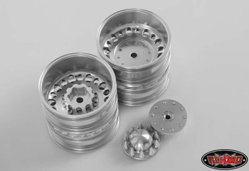 Chaos Semi Truck Rear Wheels w/ Spiked Caps RC4WD Z-W0153 Ally SILVER Hex