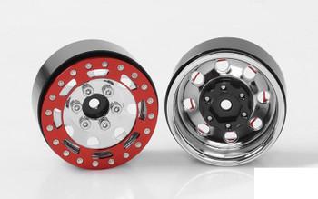 "TRO 1.7"" Stamped Steel Beadlock Wheels RED / CHROME RC4WD Z-W0225 Marlin"