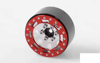 "TRO 1.7"" Stamped Steel Beadlock Wheels RED / CHROME RC4WD Z-W0225 Marlin"