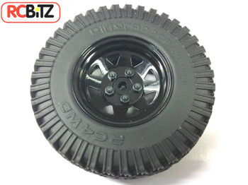 Set of 4 BLACK Waggon 5 lug Wheels With 1.9 Dirt Grabber Tyres Gelande G 2 D90