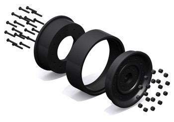 Humvee 1.9 Internal Scale Beadlock Wheel RC4WD Z-W0119 Black 12mm Hex Mounting