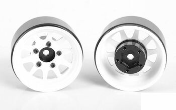 "OEM Stamped Steel 1.55"" Beadlock Wheels WHITE Z-W0260 RC4WD 12mm HEX TF2 G2"