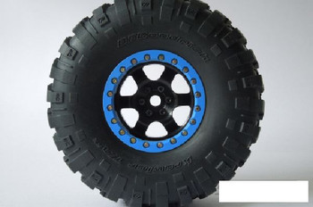 "SSD 2.2"" Rock Racer Beadlock Wheels BLACK w/ BLUE ring SSD00098 Bomber Wraith"