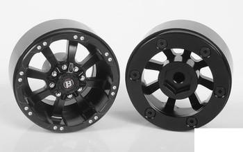 """RC4WD Ballistic Off Road Morax 1.7"""" Beadlock Wheels Z-W0118 8 Spoke BLACK Scale"""