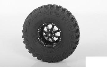 "RC4WD Ballistic Off Road Morax 1.7"" Beadlock Wheels Z-W0118 8 Spoke BLACK Scale"