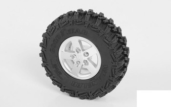 "JK 1.9"" Scale Beadlock Wheels Z-W0151 RC4WD 5 Spoke SILVER 5 lug Jeep SCX10 II"