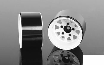 "Deep Dish Wagon 1.55"" Stamped Steel Beadlock Wheels WHITE Z-W0284 RC4WD G2"