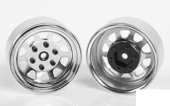 """Stamped Steel 1.7"""" Beadlock Wagon Wheels CHROME Z-W0271 RC4WD 6 lug Hex Mount"""