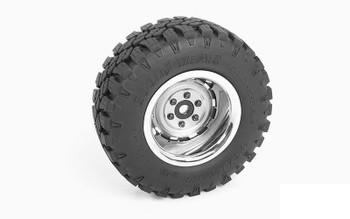 """Rally 1.9"""" Beadlock Wheels Z-W0257 RC4WD Deep Chrome & Grey Scale wheel 6 Lug"""