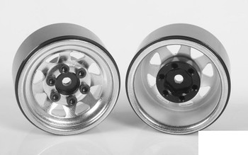 "Stamped Steel 1.0"" Stock Beadlock Wheels CHROME Z-W0263 RC4WD 18th scale micro"