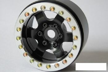 """1.9"""" Rock Racer Beadlock Wheels Black 6 spoke Silver Ring 6 screws SSD SSD00133"""