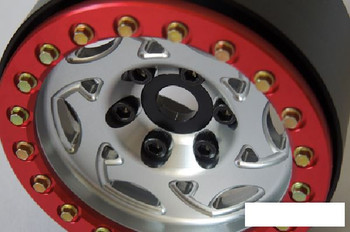 "SSD 1.9"" Champion Beadlock Wheels SILVER RED ring SSD00248 TF2 Marlin Alloy Hex"