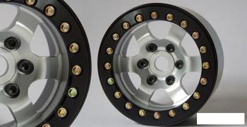 """SSD 1.9"""" Rock Racer Beadlock Wheels SILVER BLACK ring SSD00275 6 spoke SSD-RC"""