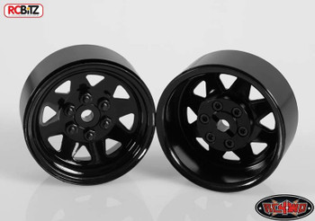 6 Lug Wagon 1.9 scale Steel Stamped Beadlock Wheels BLACK Pin Mount realistic[(4) One Set]