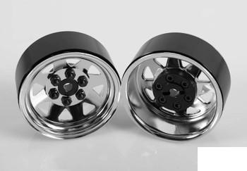 6 Lug Wagon 1.9 scale Steel Stamped Beadlock Wheels CHROME Pin Mount Z-W0002