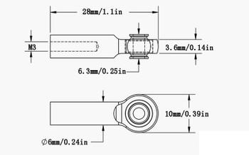 M3 Long Straight Aluminum Rod Ends BLUE x10 Z-S1650 RC4WD 28mm K44 Link End RC