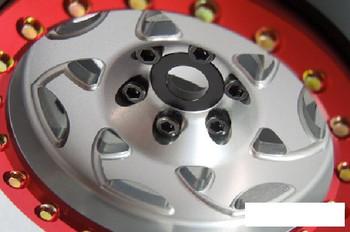 """SSD 2.2"""" Champion Beadlock Wheels (Silver/Red) SSD00345 TRX-4 TRX4 Traxxes SSDRC"""