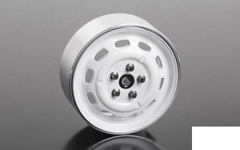 "Stamped Steel 1.7"" 10-Oval Hole Wheels WHITE Z-W0311 RC4WD 5 Lug pin mount"