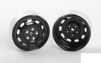"Stamped Steel 1.7"" 10-Oval Hole Wheels BLACK Z-W0313 RC4WD 5 Lug pin mount"