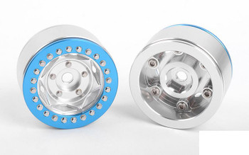 "RC4WD Rogue 1.55"" Beadlock Wheels Z-W0317 SILVER Blue Beadlock"