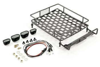 Fastrax Black Aluminium Luggage Rack w/ LED Lamps L165 X W112mm FAST2300BK