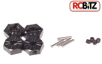 Axial Narrow 12mm Aluminum Hub Hex Wheel Mounting Adaptor BLACK 4pcs AX30427
