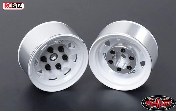 Stamped Steel 1.55 Stock White Beadlock Scaler Wheel RC4WD HEX Mount TF2 Z-W0035
