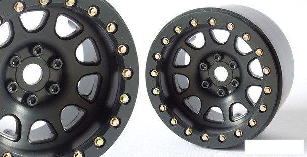"SSD 2.2"" D Hole Beadlock Wheels BLACK SSD00156 CNC Aluminium Wheel 6 Lug"